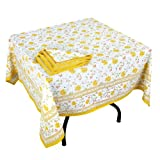 Floral Prints Summer Spring Square Tablecloth Napkins Set Yellow White,Cotton