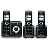 VTech DS6421-3 DECT 6.0 Cordless Phone, Black/Silver, 3 Handsets