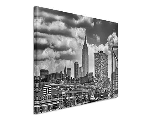 50x70cm Leinwandbild schwarz weiß in Topqualität New York Skyline Wolkenkrater