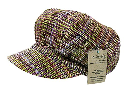 Purple-Green Organic Cotton Pumpkin Cap Hat From Hand Woven Fabric Unique Style High Quality Handmade front-479374