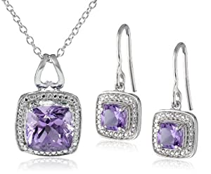 Sterling Silver Amethyst Earrings and Pendant Necklace Jewelry Set