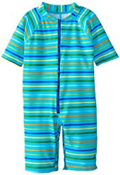 i play. Baby One Piece Swim Sunsuit, Aqua Multi Stripe, 12 Months