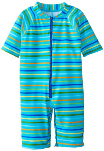 I play. Baby One Piece Swim Sunsuit, Aqua Multi Stripe, 24 Months