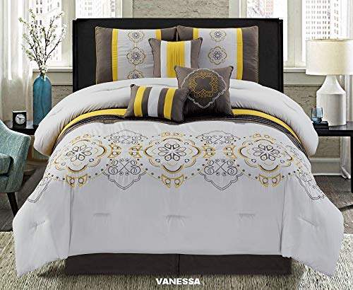 Unique Home 7 Pieces Bedding Comforter Set Beautiful Flower on Grey red and Brown with Pillow Sham Cushion Bed Skirt Calking