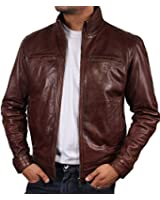Mens Leather Biker jacket Brown Brand New Real Leather Coat Designer X-Small-5XL