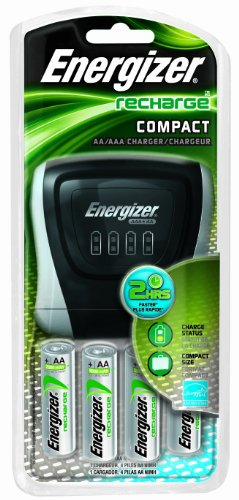 Energizer Compact  Charger With 4 AA NiMH Rechargeable Batteries