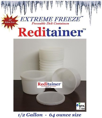 Extreme Freeze Reditainer 64 oz. Freezeable Deli Food Containers w/ Lids - Package of 8 - Food Storage (Package Container compare prices)