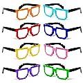 MJ Boutique's Assorted Random Colors Block Pixelated Glasses Novelty Nerd Geek Gamer - One Dozen