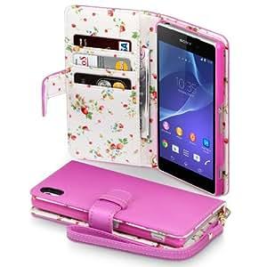 Sony Xperia Z2 Hülle, Terrapin Handy Leder Brieftasche Case Tasche mit Kartenfächer für Sony Xperia Z2 Pink mit Blumen Interior