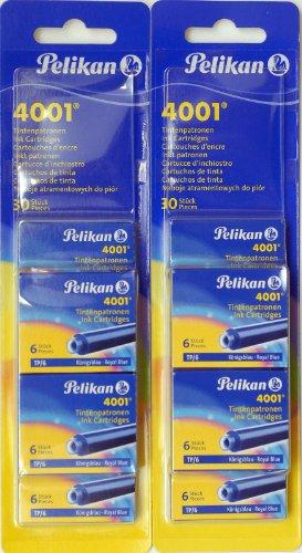 Pelikan: 10 Etuis de 6 Mini Cartouches, Couleur: Bleu Royal (2 Blisters de 5 etuis Chacun).
