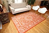 New City Orange Traditional French Floral Wool Persian Area Rugs 5'2 x 7'3