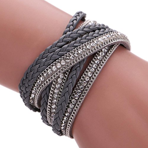 Susenstone Women Bohemian Bracelet Woven Braided Handmade Wrap (Gray)