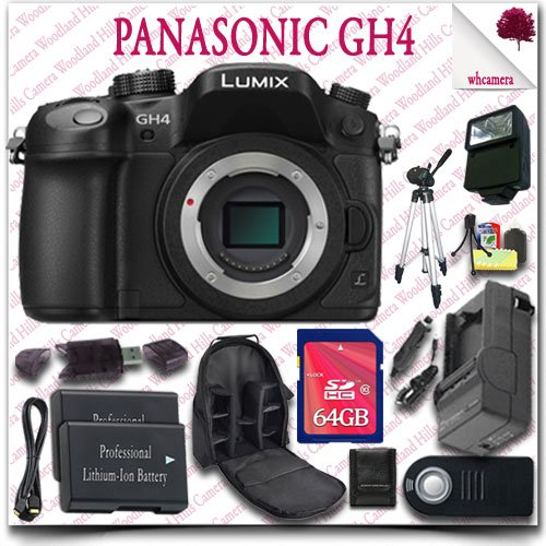 "Panasonic Lumix Dmc-Gh4 4K Mirrorless Digital Camera (Body Only) + Wireless Remote + 64Gb Sdhc Class 10 Card + Slr Camera Backpack + 57"" Tripod + External Slave Flash + Hdmi Cable 15Pc Panasonic Saver Bundle"