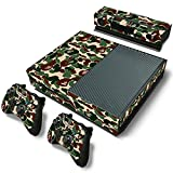 Designer Xbox One Painted Green Camo Vinyl Sticker Decal + 2 Controller Skins