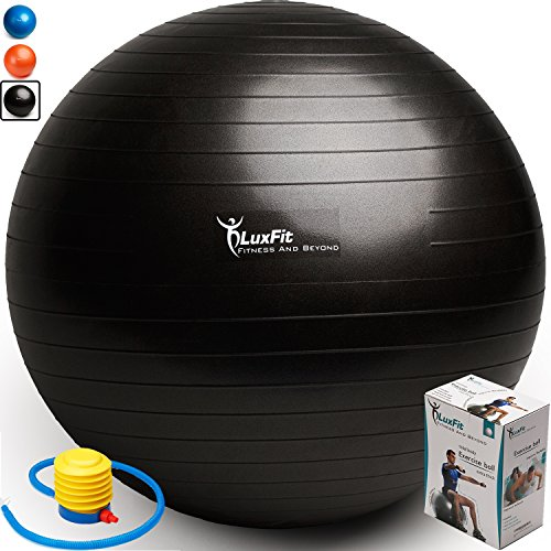 Exercise Ball, LuxFit Premium EXTRA THICK Yoga Ball '2 Year Warranty' - Swiss Ball Includes Foot Pump. Anti-Burst - Slip Resistant! 45cm, 55cm, 65cm, 75cm, 85cm Size Fitness Balls (Black, 55cm)