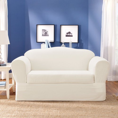 Sure Fit Twill Supreme 2-Piece Loveseat Slipcover, White front-707816
