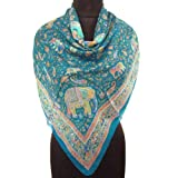Iba Turquoise Blue Silk Scarf Animal Print Wrap Lady Neck Pure Silk Scarves Hijab 40
