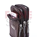 Fone-Stuff Universal Sporty Multifunction Multipurpose Outdoor Leisure and Travel Waist Shoulder Bag Cover Case Pouch for iPhone 6 6 Plus 5s 5 4s 4 and Other Smart Mobile Phones and Cameras Small Gadgets with Removable Shoulder Strap in Brown