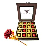 Royal Treat Of Wrapped Chocolates And Truffles With 24k Red Gold Rose - Chocholik Luxury Chocolates