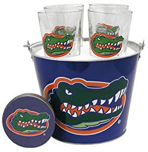 NCAA Florida Gators Satin Etch Bucket and 4 Glass Gift Set by Boelter Brands