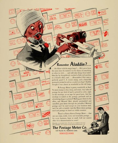 1940 Ad Aladdin Postage Meter Stamp Stamford Mail - Original Print Ad