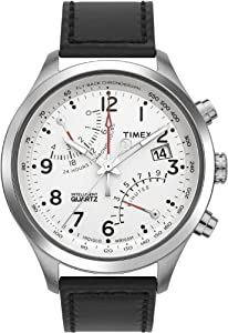 Timex Men's T2N701 Intelligent Quartz SL Series Fly-Back Chronograph Black Leather Strap Watch