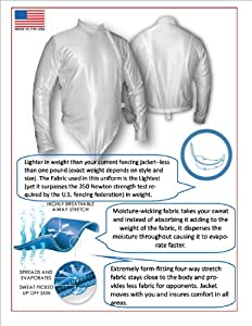 Mens Right Handed Nylon polyester foil/epee/sabre front zip fencing jacket