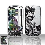 Rubberized Silver Black Vine Flower Snap on Design Case Hard Case Skin Cove ....