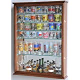 Large Mirror Backed and 7 Glass Shelves Shot Glasses Display Case Holder Cabinet