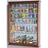 Large Mirror Backed and 7 Glass Shelves Shot Glasses Display Case Holder Cabinet