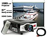 """1080i HDMI Video Theater LCD Projector 4 wii, PS3, XBox, DVD, Playstation, Gamecube, INCLUDING 87"""" B"""
