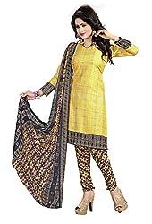 Craftliva Yellow & Multy Printed Crepe Dress Material