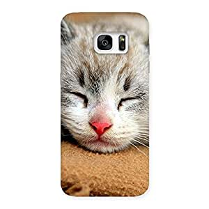 Stylish Sleeping Cat Multicolor Back Case Cover for Galaxy S7 Edge