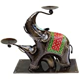 Crafticia Craft Rajasthani Handicraft Iron Traditional Aluminium Metal Elephant Tealight Candle Holder Table Decor...