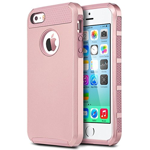 iPhone SE Case , iPhone 5S Case , iPhone 5 Case,Alkax 2 Piece Armor Heavy Duty Rugged Dual Layer Defender Slim Fit Hybrid Series Protective Cover Bumper for Apple iPhone SE+ 1 Stylus Pen (Rose Gold) (Iphone 5s Case Protective Owl compare prices)