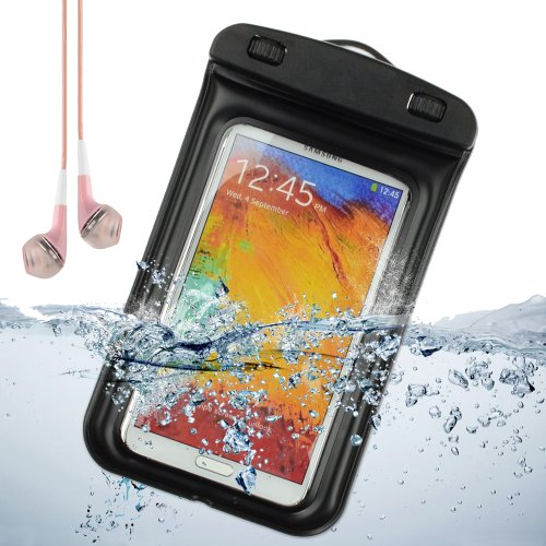 Sumaclife Waterproof Pouch Case For Samsung Galaxy Note 3 / Samsung Galaxy Note 2 / Galaxy S4 (Black) + Pink Vangoddy Earphones With Mic