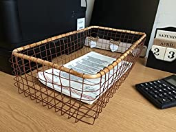 Copper Wire Basket Mesh Tray Desk Top Office Organiser Industrial Style 2 Sizes