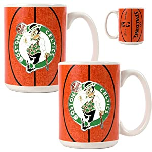 NBA Boston Celtics Two Piece Ceramic Gameball Mug Set - Primary Logo by Great American Products