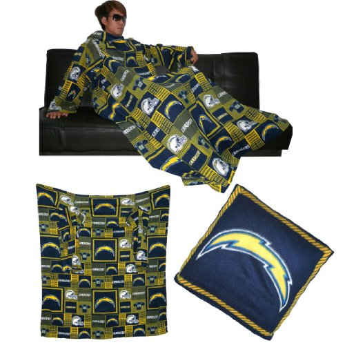 Nfl San Diego Chargers Throw Blanket With Sleeves That Folds Into A Couch Pillow Dark Blue & Yellow front-992576