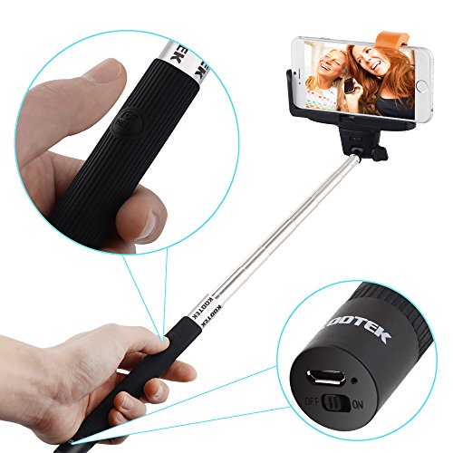 kootek bluetooth monopod selfie stick self portrait pole with remote shutter. Black Bedroom Furniture Sets. Home Design Ideas