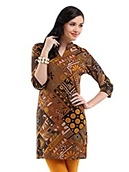 Miraaya Women's Cotton Kurta (M2538A_889811, Brown, S)