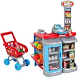 Best Choice Products® Kids Pretend Playset Play Grocery Store Cash Register Shopping Cart Toy Fun Food