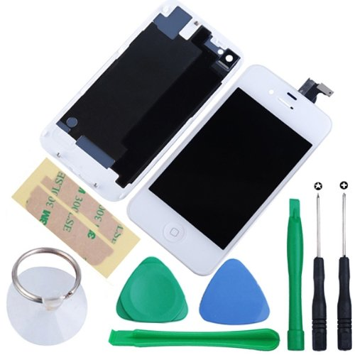 Amhdeal Front Screen Lcd & Touch Screen & Digitizer Assembly + Back Battery Door Cover + Home Button + Tools Kit For Iphone 4S (White)