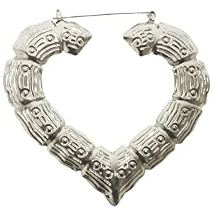 "2 3/4 X 3"" Heart Bamboo Doorknocker Earrings In Silver Tone"