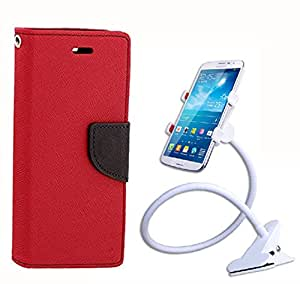 Aart Fancy Diary Card Wallet Flip Case Back Cover For HTC516 - (Red) + 360 Rotating Bed Tablet Moblie Phone Holder Universal Car Holder Stand Lazy Bed Desktop for by Aart store.