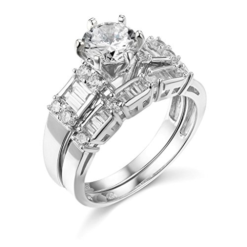 925-Sterling-Silver-Rhodium-Plated-Wedding-Engagement-Ring-and-Wedding-Band-2-Piece-Set