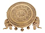 Kapasi Handicrafts Brass Elephant Leg Brass Chowki / Bajot / Table/ Patla / Stool Pooja Article (19.05 x cm 19.05 x cm 11.43 cm )