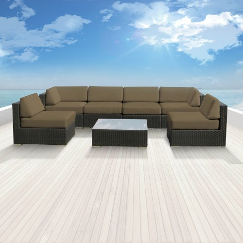 Luxxella Patio Bella Genuine Outdoor Wicker Furniture 7-Piece Gorgeous Couch Sectional Sofa Set, Taupe photo