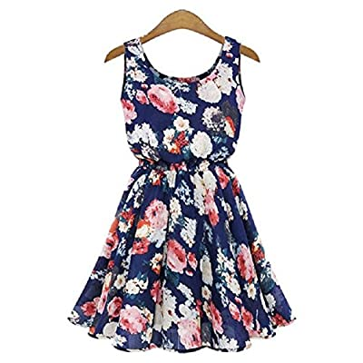 TR.OD Women Big Flower Printed Chiffon Blouses Dress