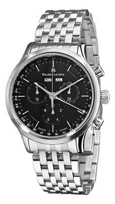 Maurice Lacroix Men's LC1008-SS002330 Les Classiques Quartz Black Chronograph Dial Watch